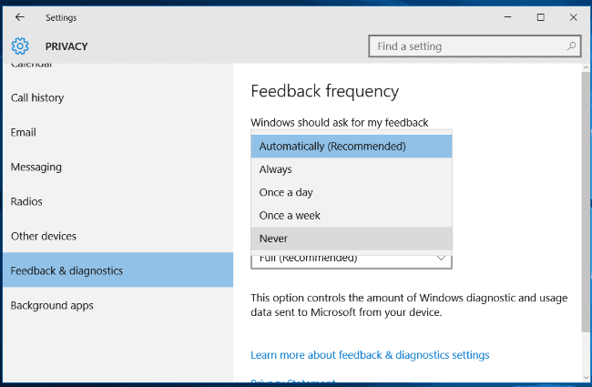 Stop Windows 10 Asking Feedback - Change Windows Feedback Frequency