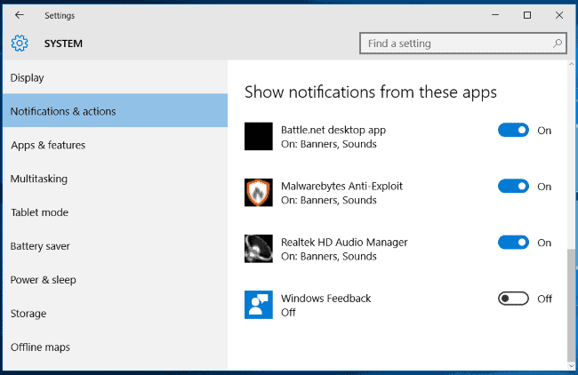 Disable Windows 10 Feedback Notification