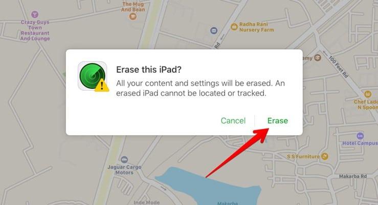 Erase iPad using Cloud