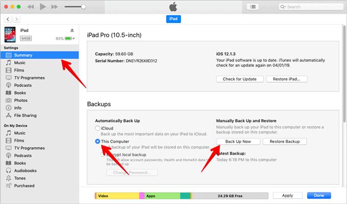 iPad autmomatic backup using iTunes