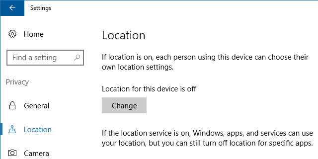 Disable Windows 10 Location Settings