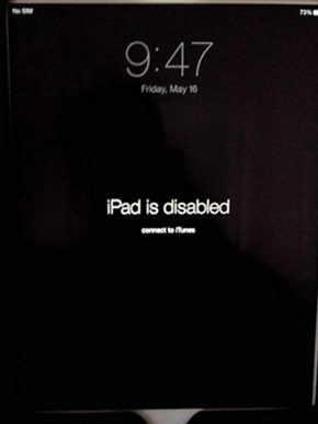 iPad Disabled concet to iTunes error