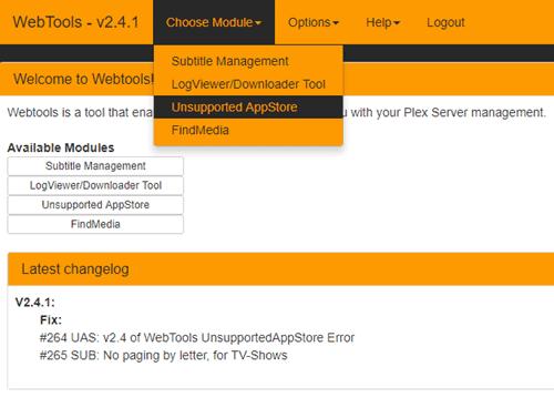Webtools - Unofficial Plex Appstore