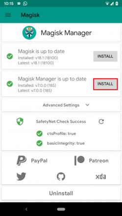 Installing Magisk Manager