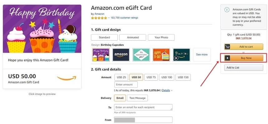 Design Your Amazon Gift Card