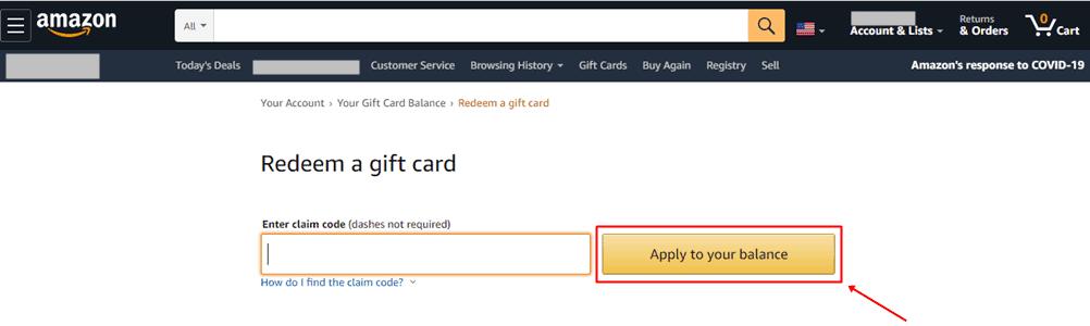 Redeem Amazon Gift Card as Balance