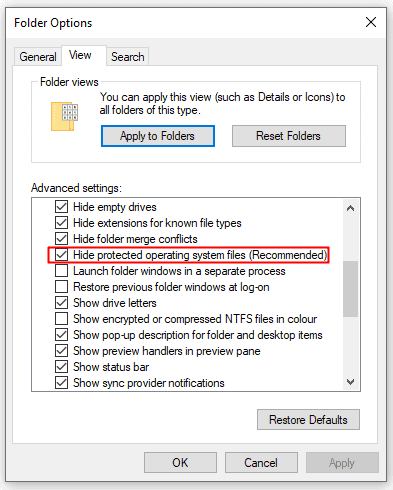 Show System Protected Files in Windows 10
