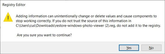 Restore Windows Photo Viewer in Windows 10