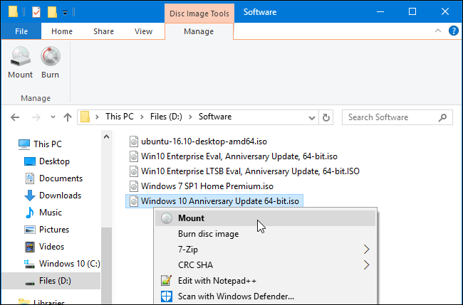 Windows 10 Built-in ISO Mounter
