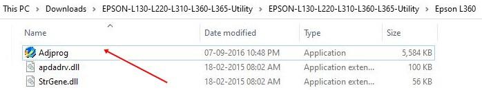 Extract Epson Reset Tool