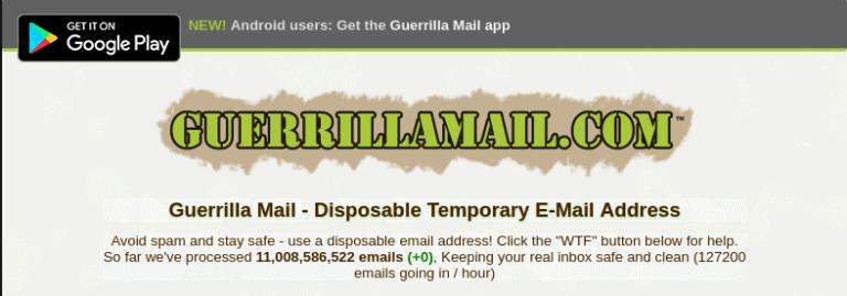 Guerrillamail - Best 10 Minute Mail Alternative